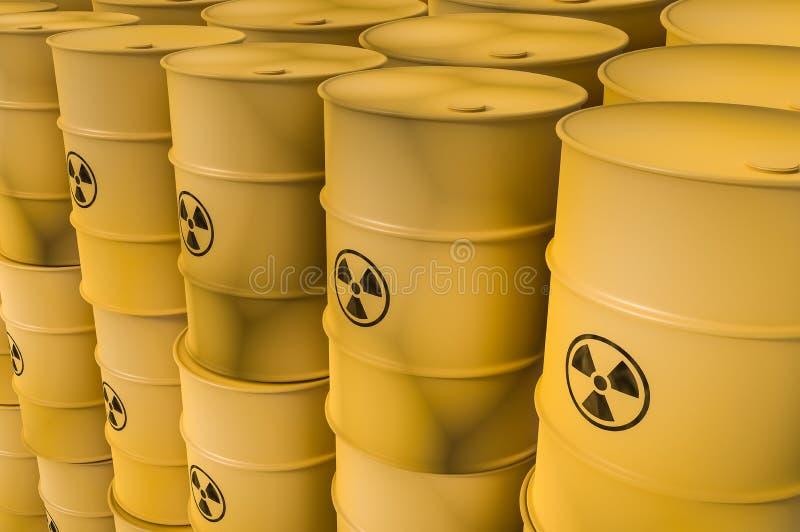 Tambores dos resíduos radioativos - resíduos nucleares que despejam o conceito ilustração stock