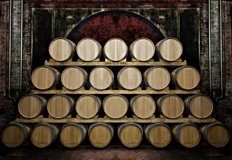 Tambores em uma vinho-adega fotos de stock