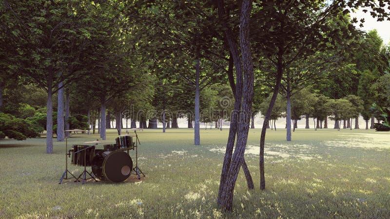 Tambores negros en el bosque fotografía de archivo libre de regalías