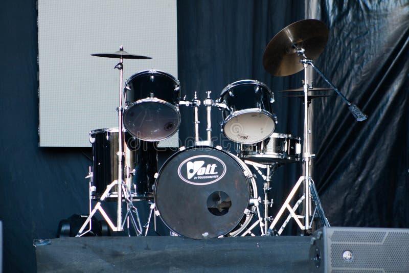 Tambores para el concierto de Tossa de Mar imagen de archivo