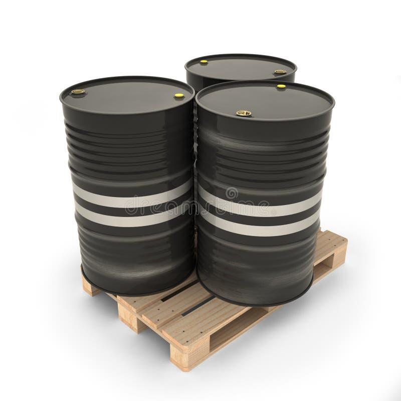Tambores pretos em uma pálete ilustração stock