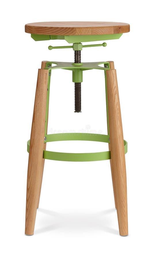Tamborete de barra de gerencio alto da cor verde, cadeira, madeira, cadeira do metal, desenhista moderno Cadeira isolada no fundo fotos de stock royalty free