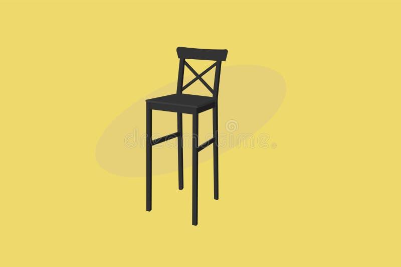 Tamborete de barra de madeira equipado com pernas longo preto Ilustra??o do vetor, isolada ilustração stock