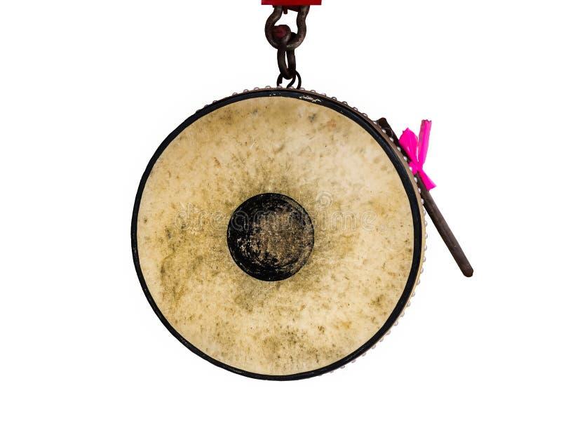 Tambour antique de style de la Thaïlande d'isolement sur le fond blanc photo stock
