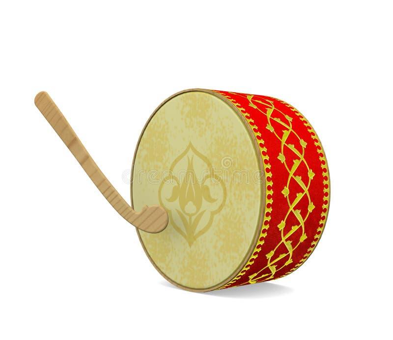 Tambour de Ramadan Instrument de musique turc de culture illustration de vecteur