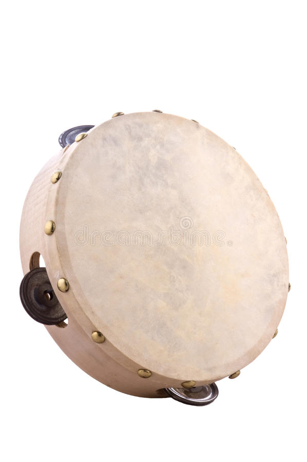 Tambourine. Musical instrument made of wood and leather royalty free stock photography