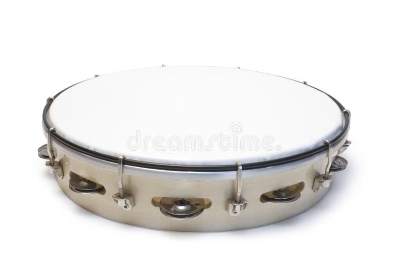 Tambourine. One white tambourine isolated on white background stock photo