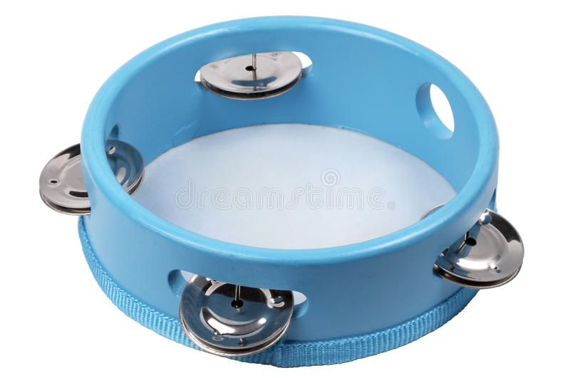 Tambourine. Blue wooden tambourine isolated over white background royalty free stock photography