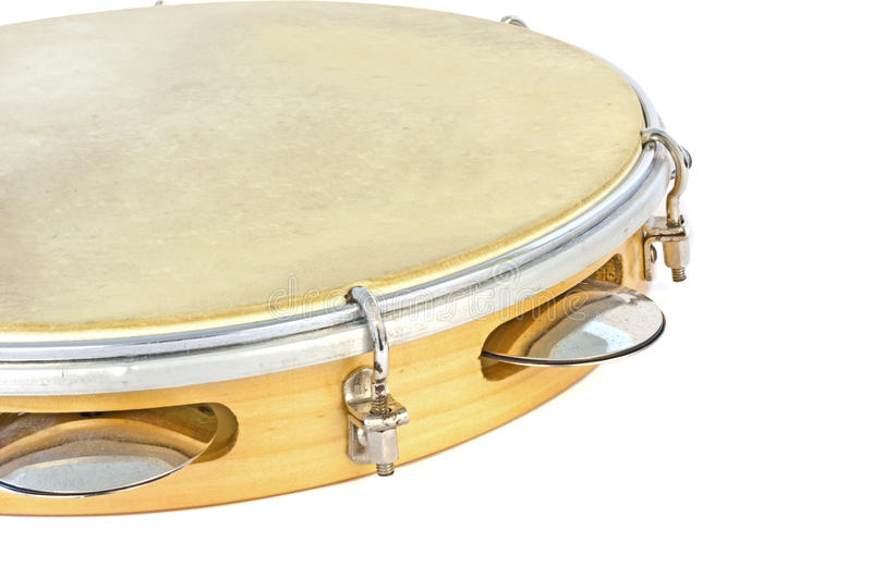 Tambourine. A single tambourine isolated in white backgroubd royalty free stock photo