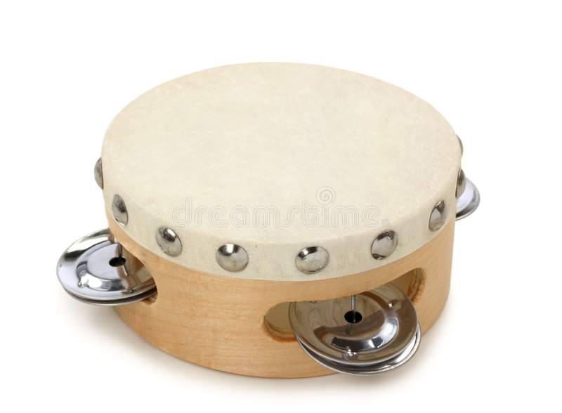 Tambourine. Isolated on white background stock photo