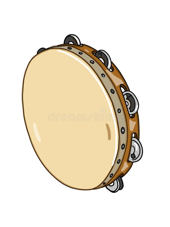 Tambourine Drum Illustration Drawing Realistic And White