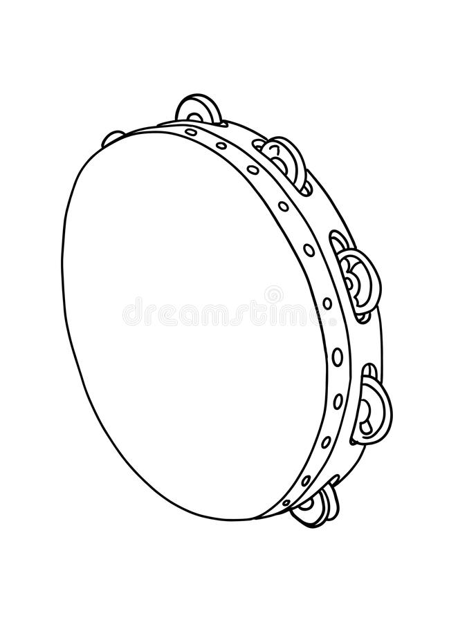Tambourine drum illustration drawing realistic and white background stock illustration