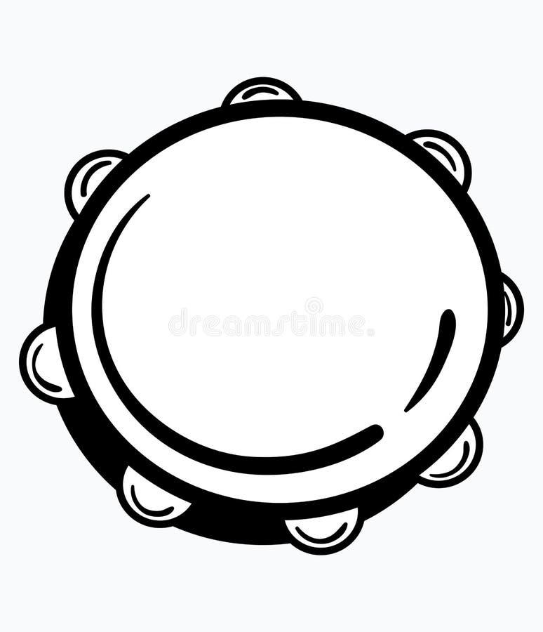 tambourine Ejemplo del vector de una pandereta Icono blanco y negro de un instrumento musical Logotipo redondo Lugar para ilustración del vector