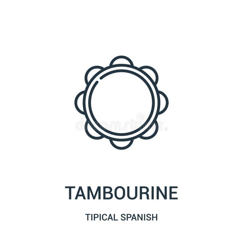 tambourine ikony wektor od tipical hiszpańskiej kolekcji Cienka kreskowa tambourine konturu ikony wektoru ilustracja Liniowy symb ilustracji
