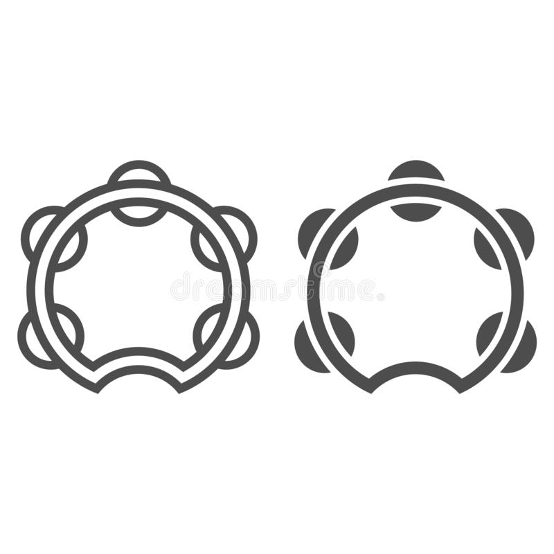 Tambourine line and glyph icon, musical and instrument, drum sign, vector graphics, a linear pattern vector illustration