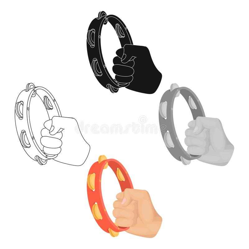 A tambourine that produces a melodic sound. Tambourine in his hand single icon in cartoon style vector symbol stock. Illustration royalty free illustration