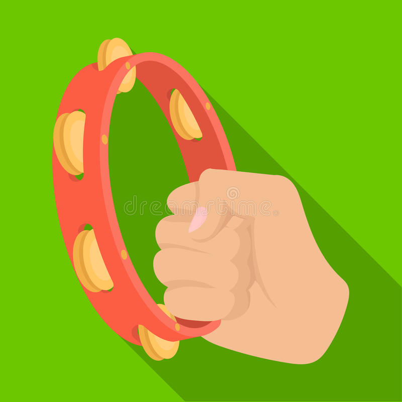 A tambourine that produces a melodic sound. Tambourine in his hand single icon in flat style vector symbol stock. Illustration stock illustration