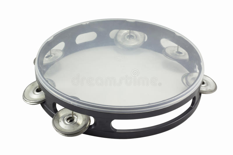 Tambourine. Small tambourine isolated on the white background stock images