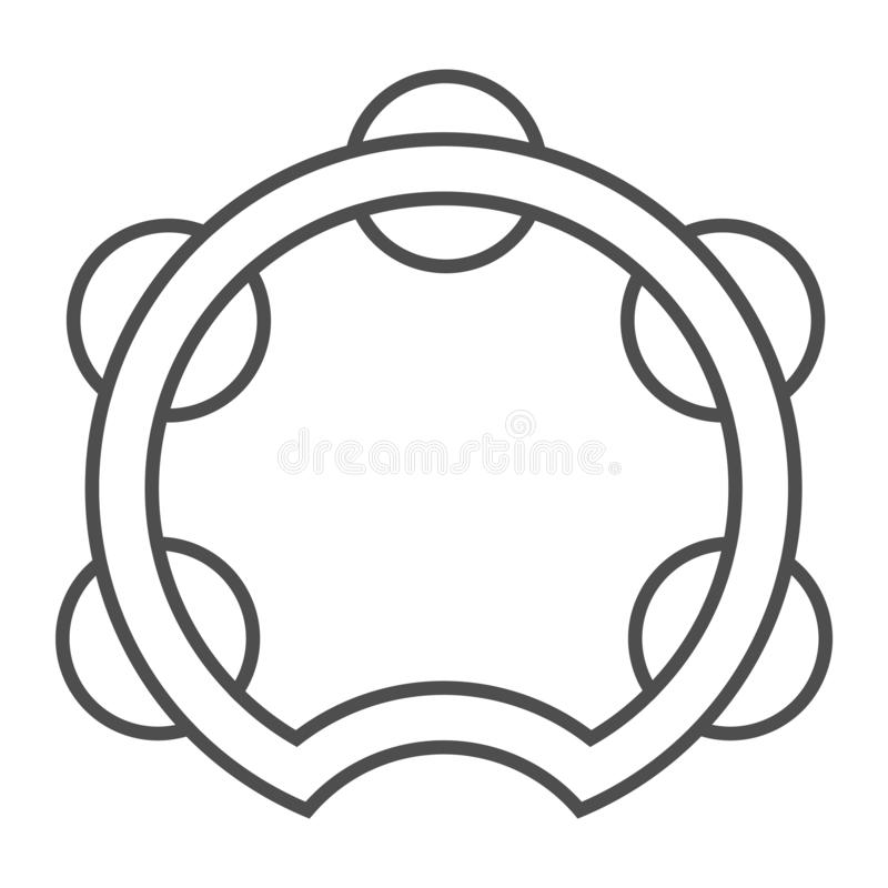 Tambourine thin line icon, musical and instrument, drum sign, vector graphics, a linear pattern on a white background. stock illustration