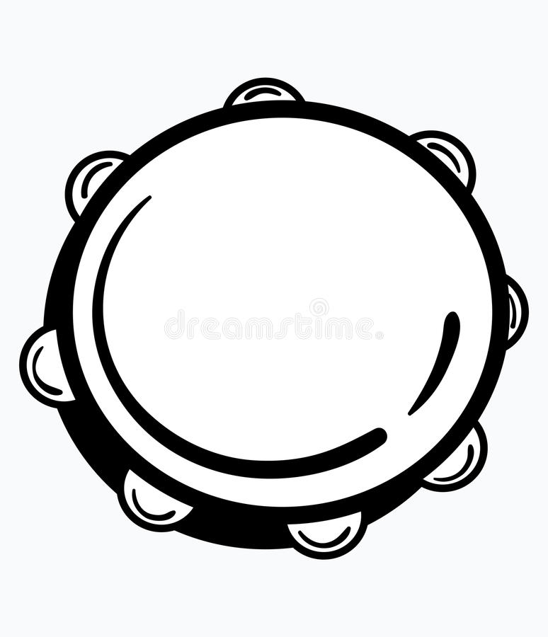 Tambourine. Vector illustration of a tambourine. Black and white icon of a musical instrument. Round logo. Place for the vector illustration