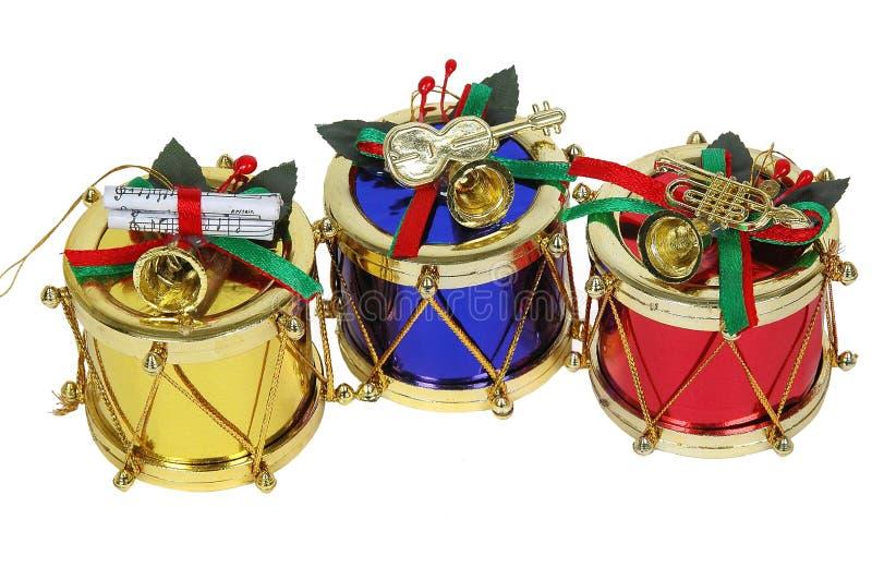 Tambours d'or, rouges et bleus de Noël photo stock