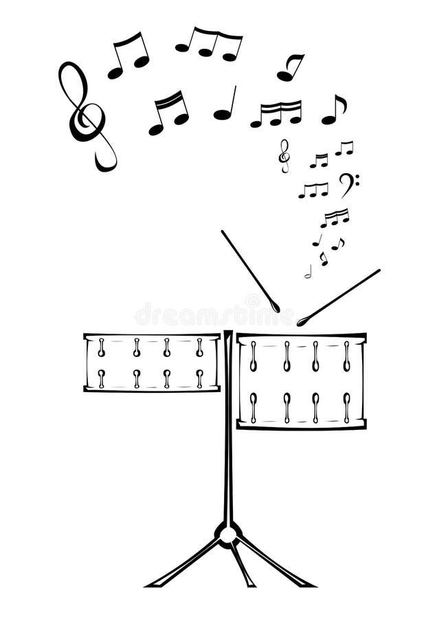 Tambours et note. illustration de vecteur