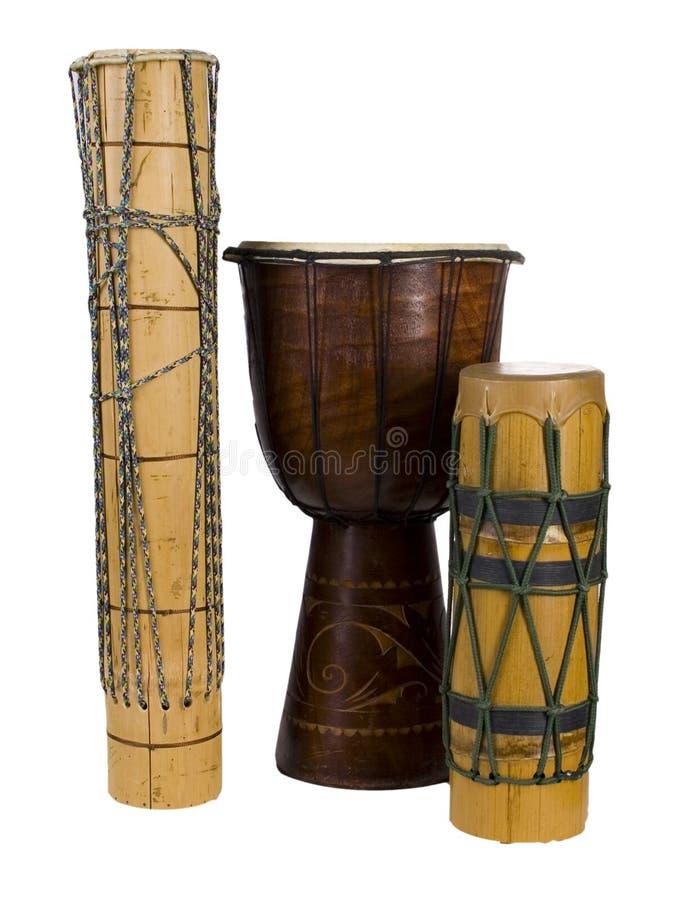 Tamburi africani esotici del gruppo immagini stock libere da diritti