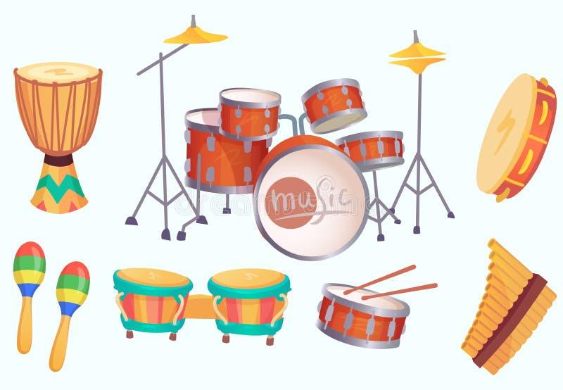 Tamburi del fumetto Strumenti musicali del tamburo Raccolta isolata vettore dello strumento di musica royalty illustrazione gratis