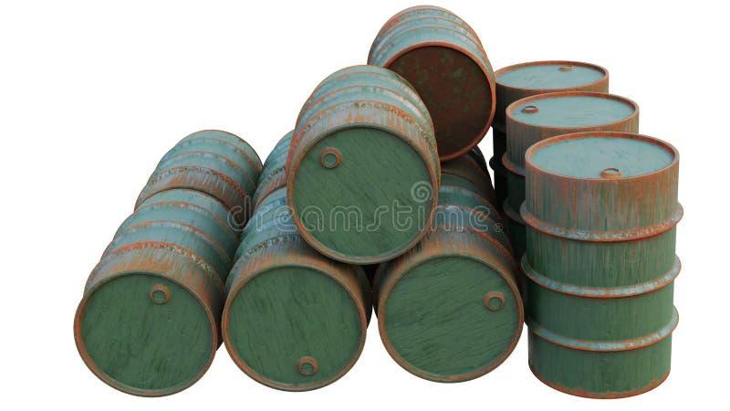 Tamburi dell'olio vecchi ed arrugginiti Serbatoi metallici, i contenitori isolati su fondo bianco illustrazione di stock