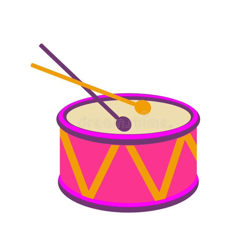 Tamburi festivi di carnevale Isolato su priorità bassa bianca Illustrazione di vettore illustrazione vettoriale
