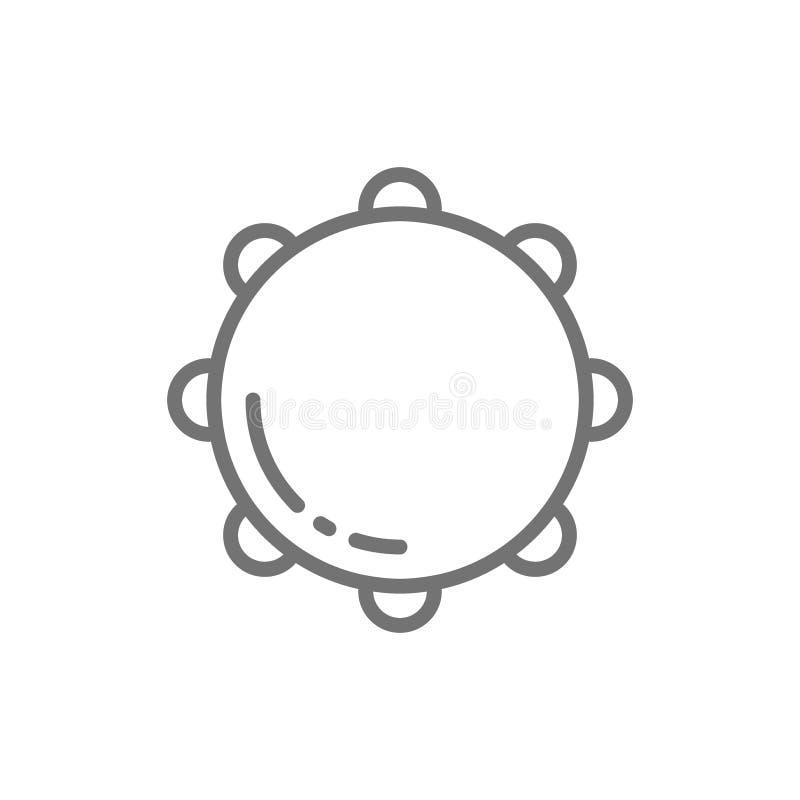 Tamburin timbrel, slagverk, musikinstrumentlinje symbol stock illustrationer