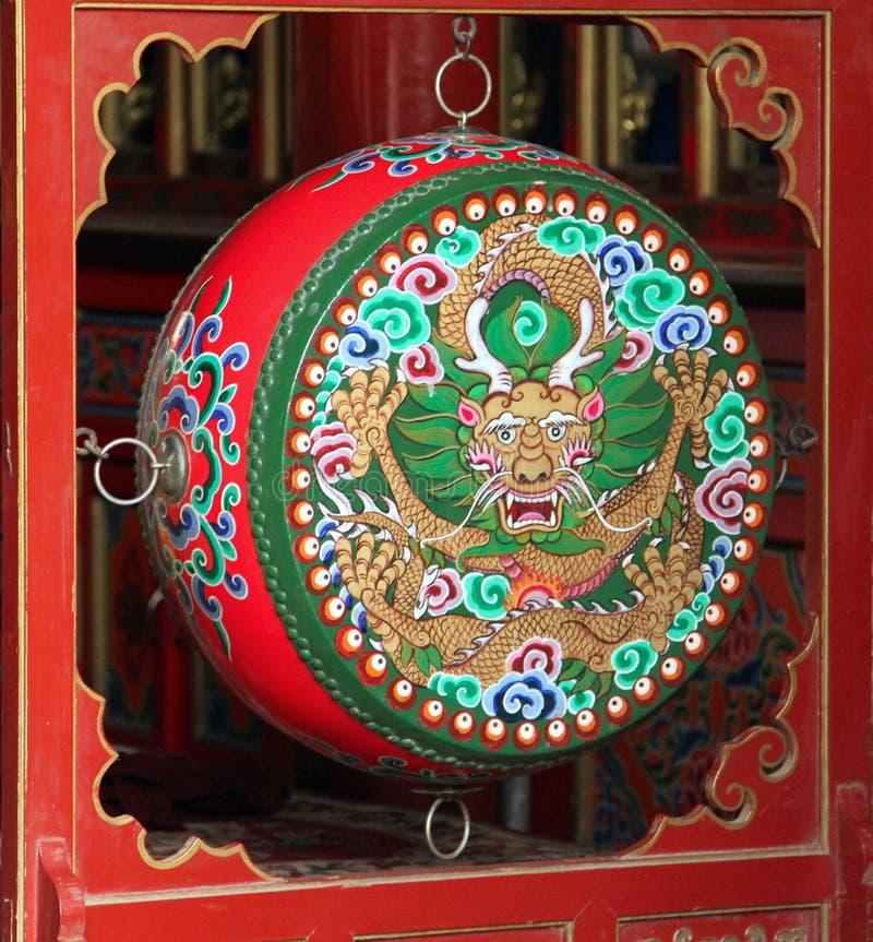 Tamburo buddista di preghiera variopinta tradizionale, Mongolia Interna fotografia stock libera da diritti