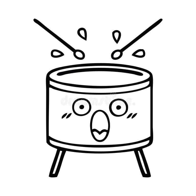 tamburo del fumetto del disegno a tratteggio illustrazione vettoriale
