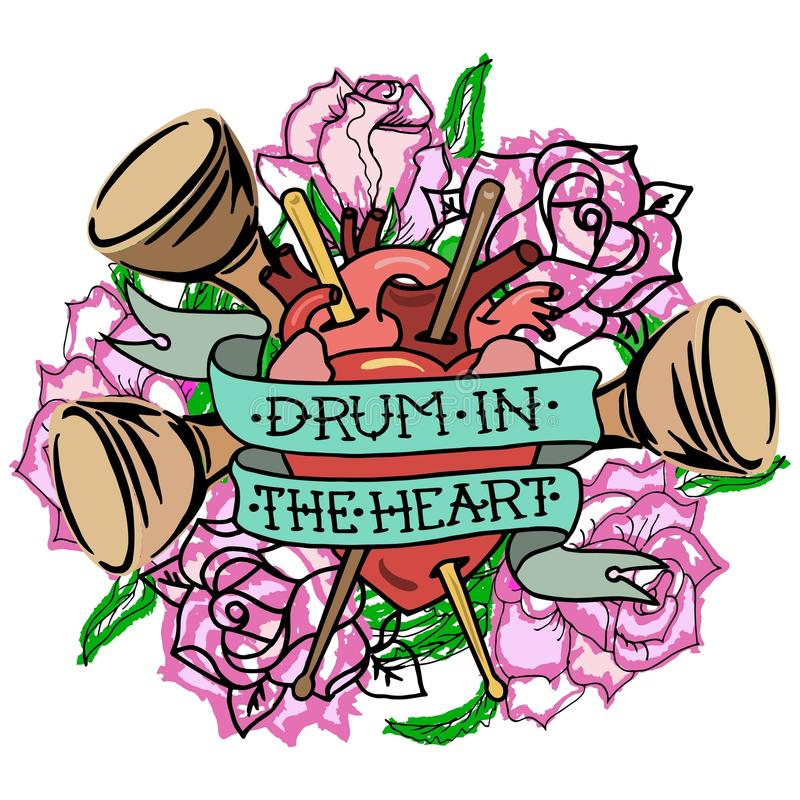 Tamburo del ` nel ` del cuore illustrazione vettoriale