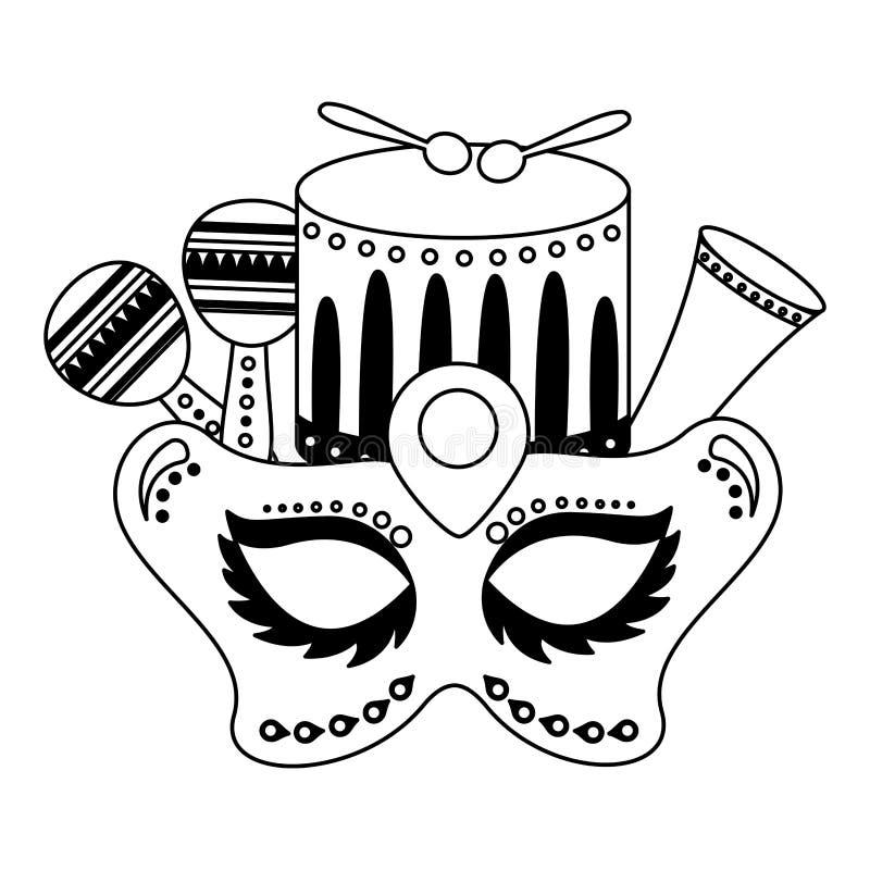 Tamburo della maschera di carnevale illustrazione vettoriale