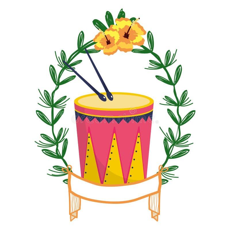 Tamburo e bacchette sulla corona dell'alloro royalty illustrazione gratis