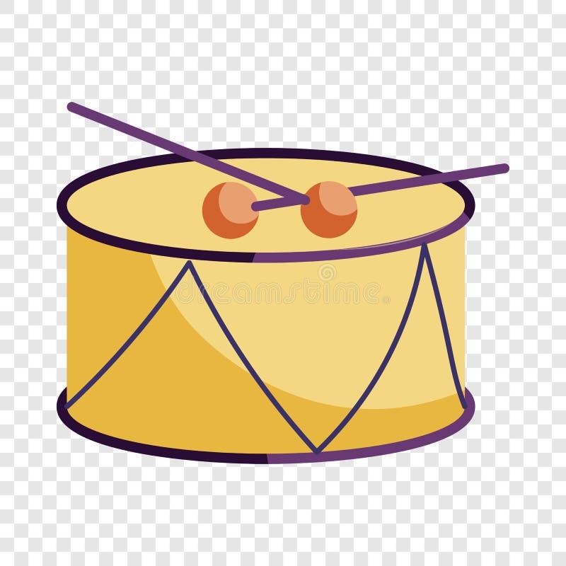 Tamburo e bastoni icona, stile del tamburo del fumetto illustrazione di stock