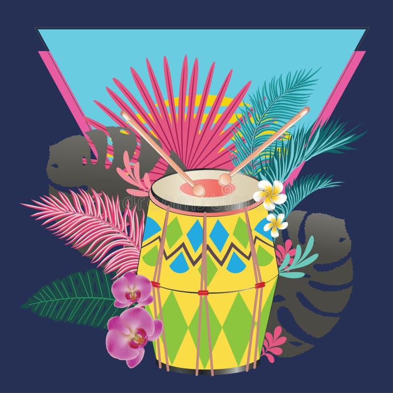 Tamburo festivo con le foglie tropicali royalty illustrazione gratis