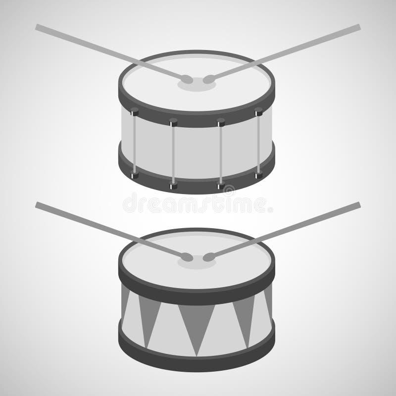 Tamburo, icona del tamburo, bastoni del tamburo illustrazione di stock