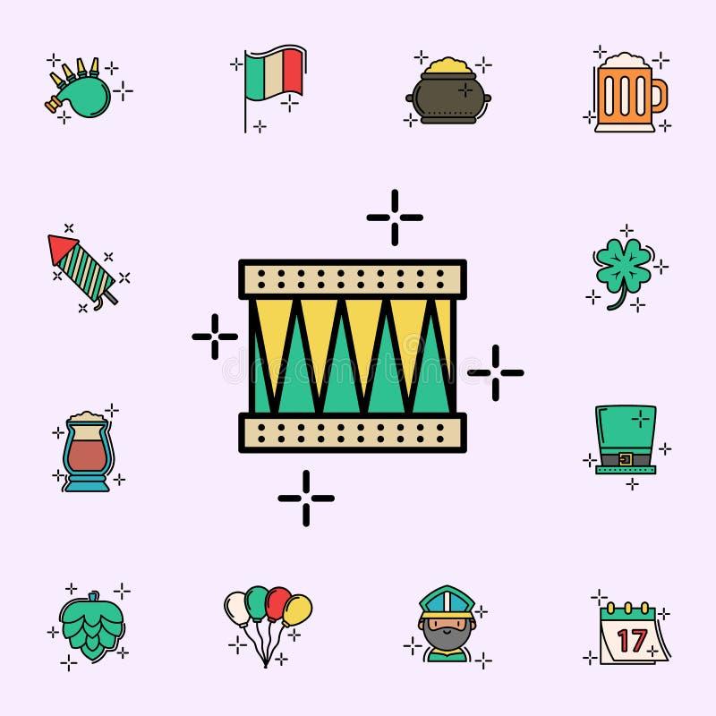 Tamburo, icona dello strumento Insieme universale delle icone di giorno di StPatricks per il web ed il cellulare illustrazione vettoriale