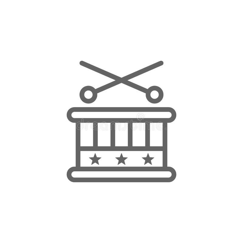 Tamburo, icona di U.S.A. Elemento del quarto dell'icona di luglio Linea sottile icona per progettazione del sito Web e sviluppo,  illustrazione vettoriale