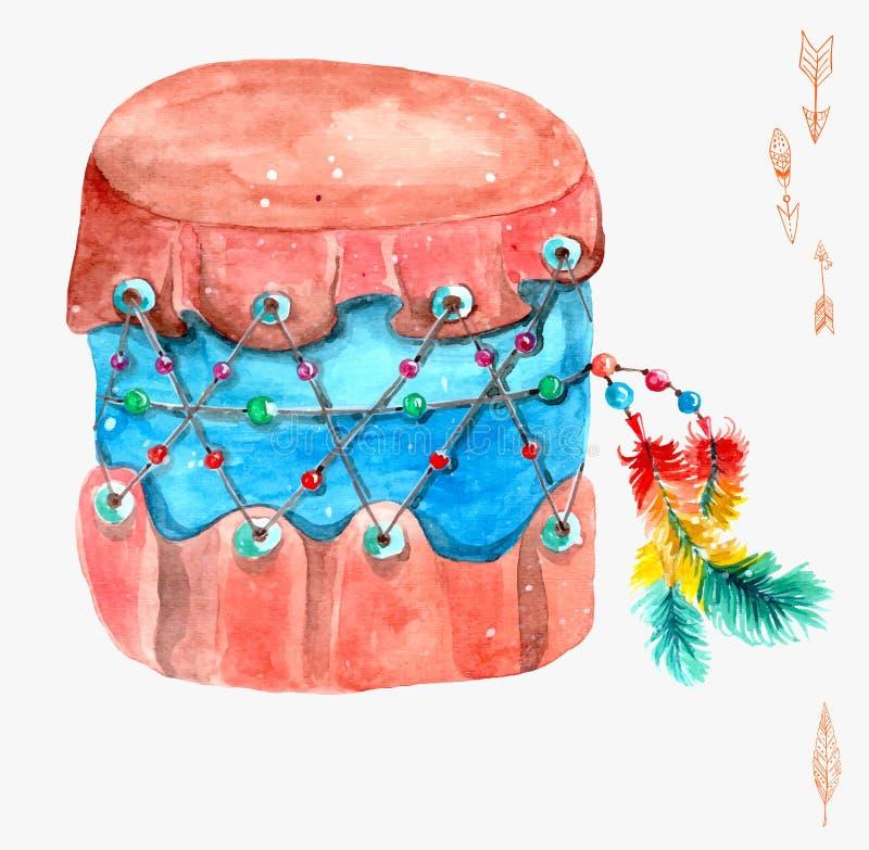 Tamburo indiano con le piume variopinte illustrazione di stock