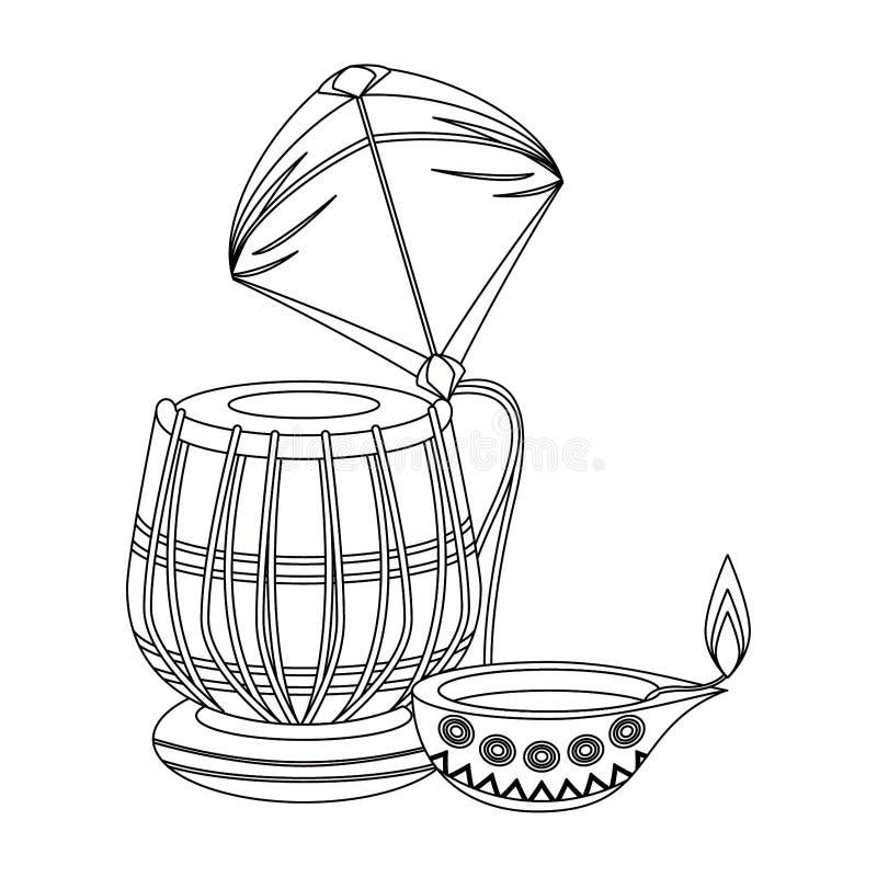 Tamburo indiano di tabla con la candela dell'olio e dell'aquilone in bianco e nero royalty illustrazione gratis