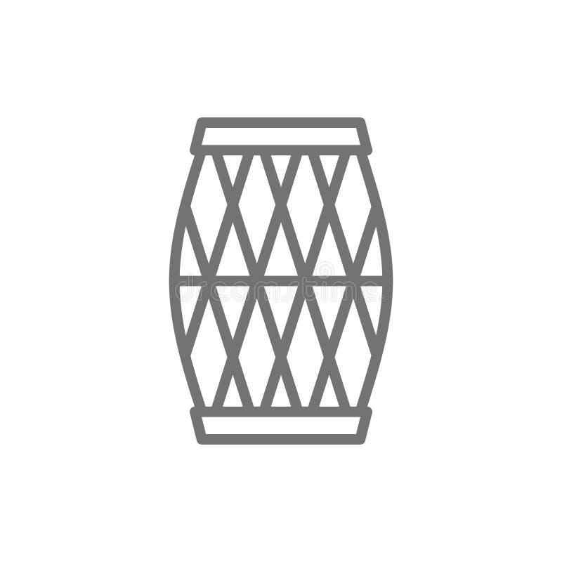 Tamburo musicale indiano, Mridangam, linea icona di Dholak illustrazione vettoriale