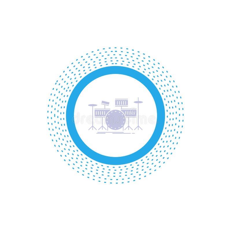 tamburo, tamburi, strumento, corredo, icona musicale di glifo Illustrazione isolata vettore royalty illustrazione gratis