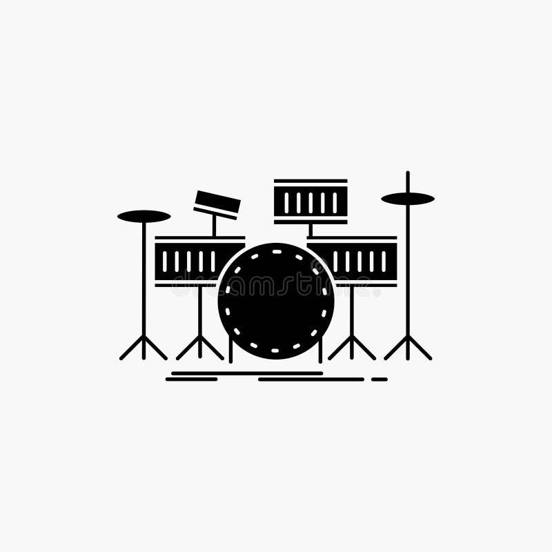 tamburo, tamburi, strumento, corredo, icona musicale di glifo Illustrazione isolata vettore illustrazione di stock