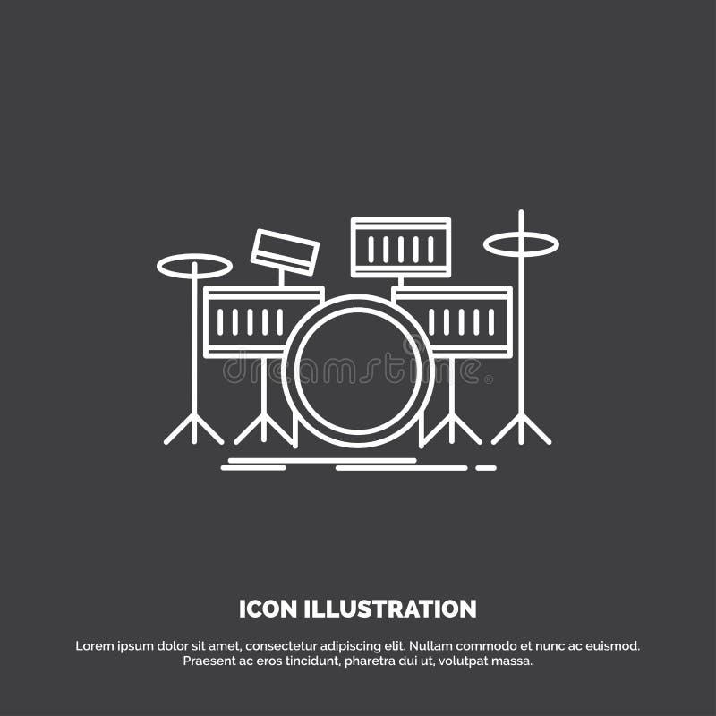 tamburo, tamburi, strumento, corredo, icona musicale Linea simbolo di vettore per UI e UX, sito Web o applicazione mobile illustrazione di stock