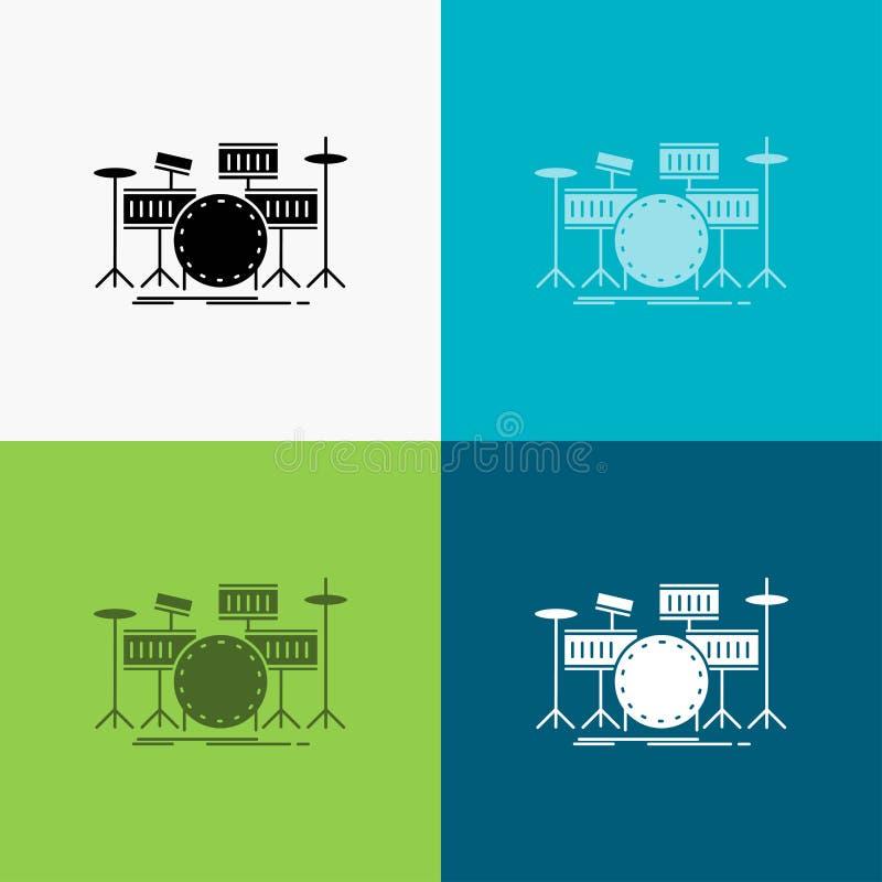 tamburo, tamburi, strumento, corredo, icona musicale sopra vario fondo progettazione di stile di glifo, progettata per il web ed  illustrazione di stock
