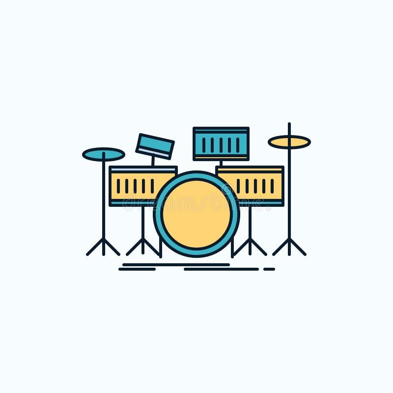 tamburo, tamburi, strumento, corredo, icona piana musicale segno e simboli verdi e gialli per il sito Web e il appliation mobile  illustrazione vettoriale
