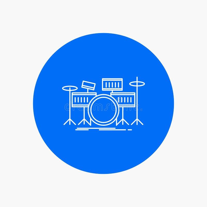 tamburo, tamburi, strumento, corredo, linea bianca musicale icona nel fondo del cerchio Illustrazione dell'icona di vettore illustrazione di stock